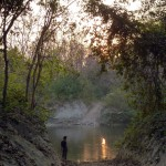 Buddhi checking the river crossing, Bardia National Park, Bardia